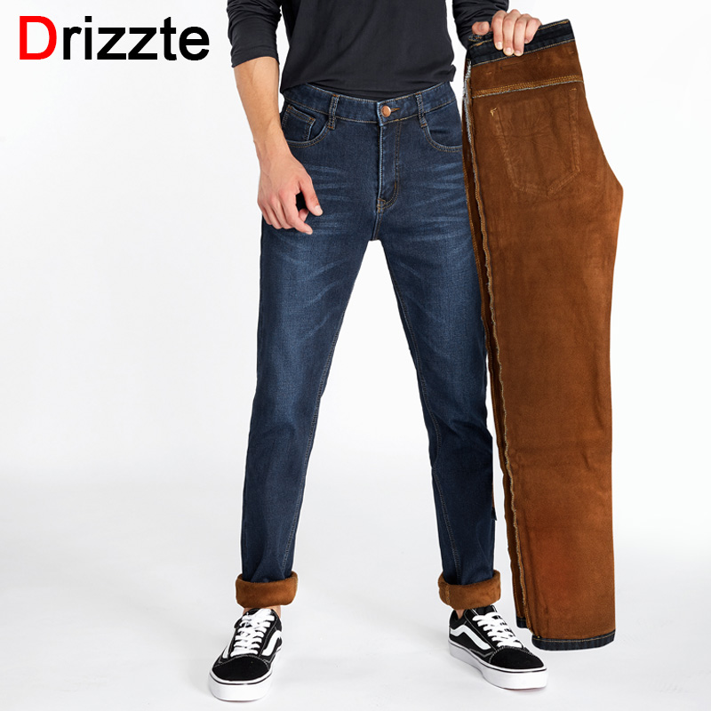 Drizzte Mens Winter Stretch Thicken Jeans with Warm Fleece High Quality Denim Jean Pants Trousers Size 28-35-42 new arrival winter fleece warm jeans high quality men blue denim plus size pants thicken jean slim trousers 100607