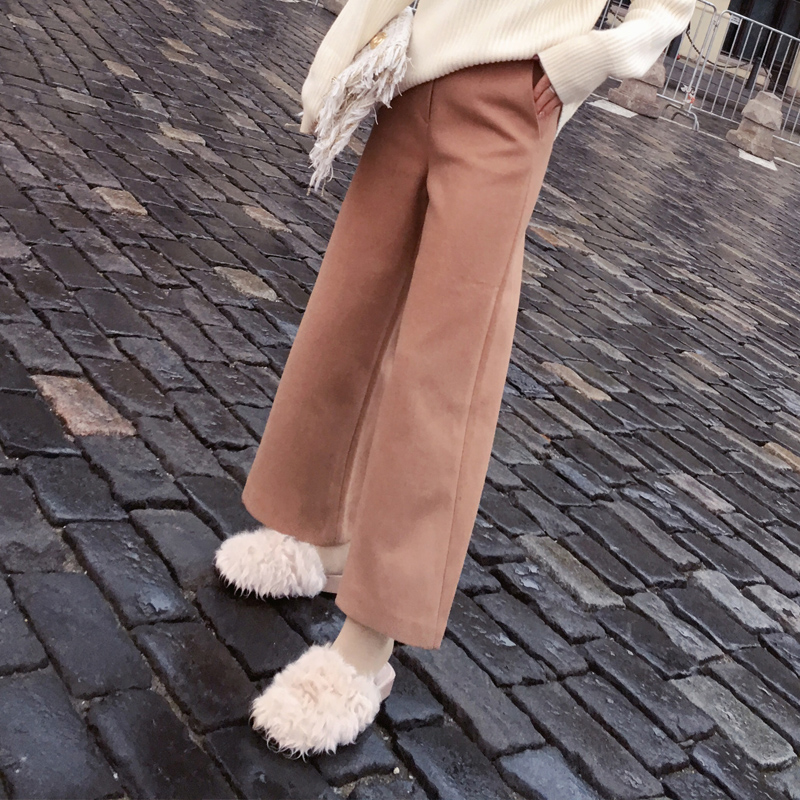 Mishow High Waist Wool Blends Ankle-length Wide Leg Women Pants 2019 Spring Pockets Solid Casual Loose Female Pants MX17D2705