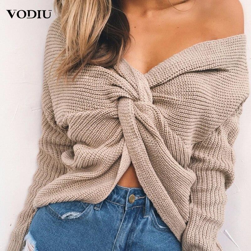 Корейский сексуальный свитер 2020 зимний женский вязаный пуловер однотонный джемпер с завязками длинный рукав v-образный вырез плюс размер 2XL...