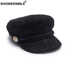 SHOWERSMILE Women Newsboy Caps Cotton Burgundy Flat Caps Female Casual Captain Hats Ladies Designer Autumn Baker Boy Caps Black