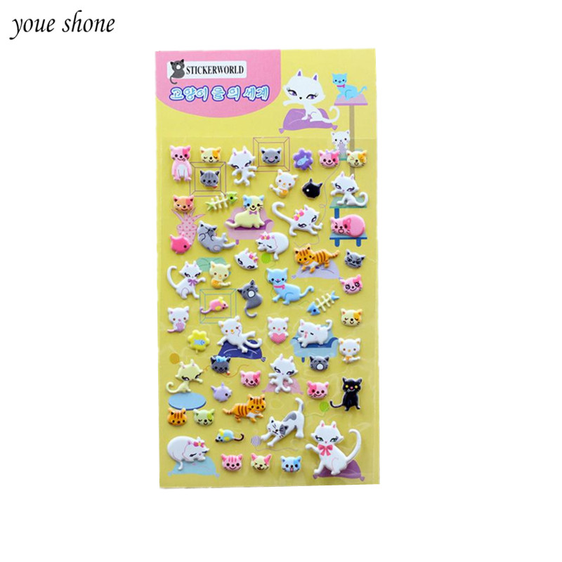 1PCS Cute Cat Stationery Stickers 3D  Bubble Stickers Lovely Diary Decorative Sticker Office Gift Supplies Book YOUE SHONE