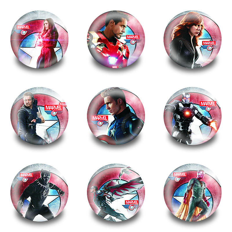 New Arrival 90pcs/lot Captain America Pins Buttons Badges Round Badges Fashion Bags Parts Accessories Party Children Gifts