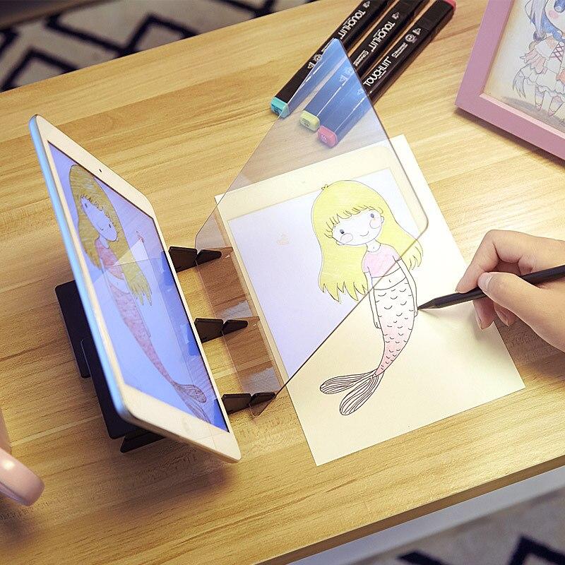 Светодиодный проекционный оптический чертеж доска эскиз зеркальное отражение затемнение кронштейн держатель Linyi шаблон для рукоделия пла...