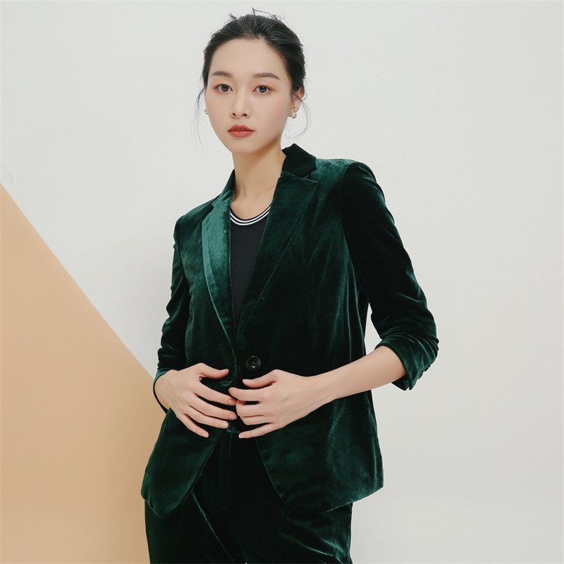 New Autumn Spring Vintage Plus Size Small Velvet Jacket Short Single-button OL Casual Blazer Femme High Quality Coat TT3635