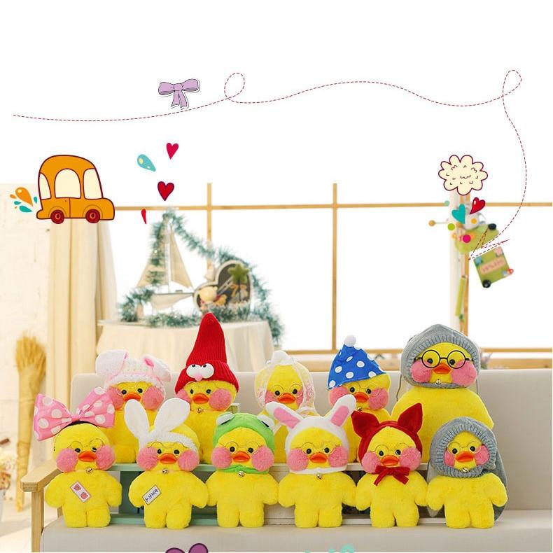 LaLafanfan 30cm Kawaii Yellow Duck Plush Toy Cute Small Duck Stuffed Doll Soft Animal Dolls Kids Toys Birthday Gift for Children