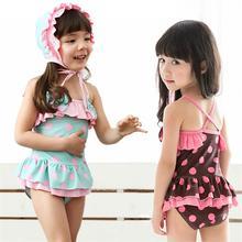 2016 Children Girls Summer  Polka Dot Swimming Cap One Piece Suit Swimsuit Swimwear Kids bathing suit 3 to 8 Years