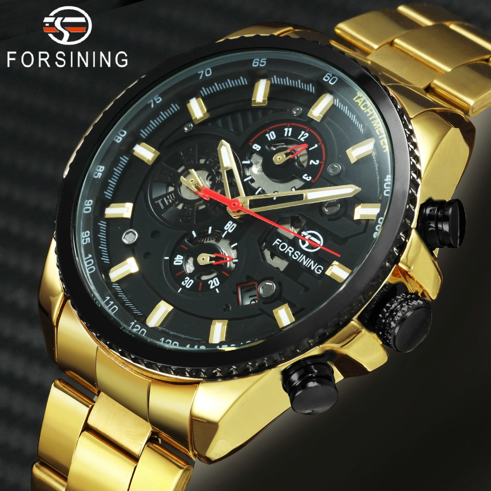 FORSINING Golden Auto Mechanical Mens Watches Top Brand Luxury 3 Sub-dial 6 Hands Stainless Steel Strap Fashion Dress WristwatchFORSINING Golden Auto Mechanical Mens Watches Top Brand Luxury 3 Sub-dial 6 Hands Stainless Steel Strap Fashion Dress Wristwatch