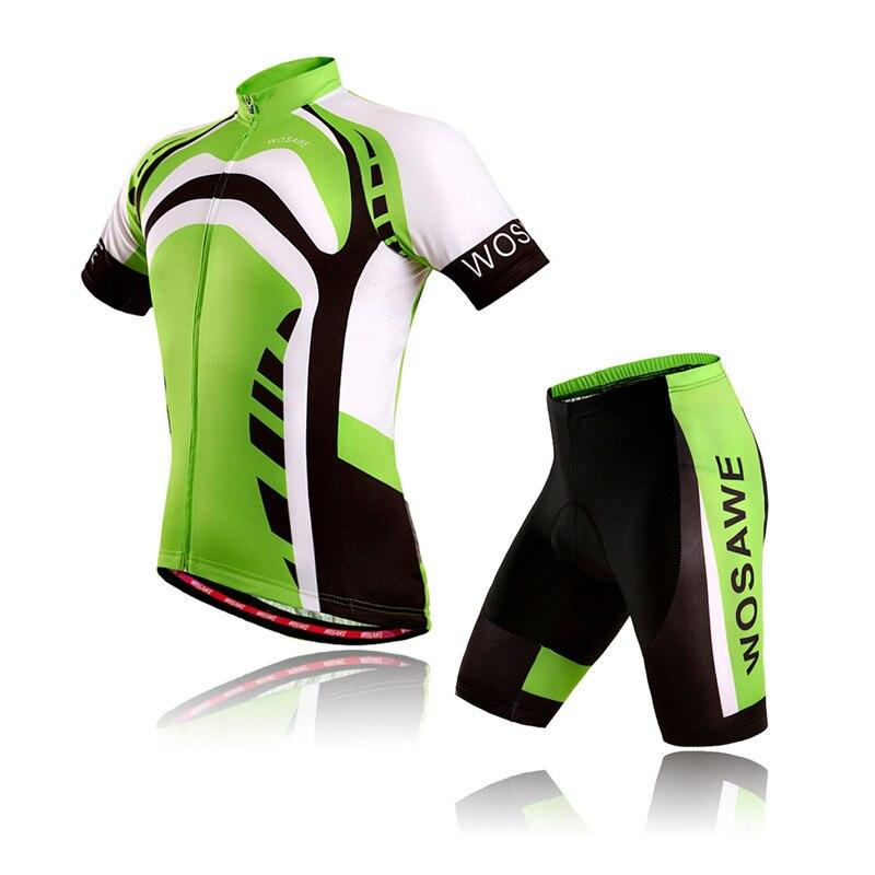 WOSAWE Men Cycling Jersey Short Pants Set Bike T shirt Ciclismo Bicycle Maillot Mtb Downhill Mountain