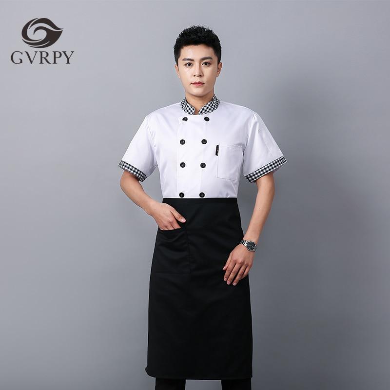Plaid Collar Plaid Short Sleeve Chef Shirt Hot Pot Shop Pizza Shop Waiter Work Uniform Restaurant Hotel Kitchen Chef Work Jacket