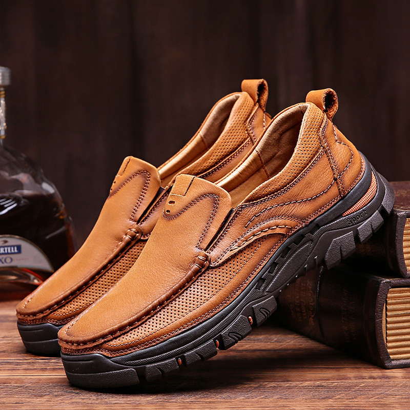 New Men's Casual Shoes Leather Soft Men's Brand Shoes Outdoor Non-slip Wear-Resistant Hiking Shoes Large Size Sports Shoes Men