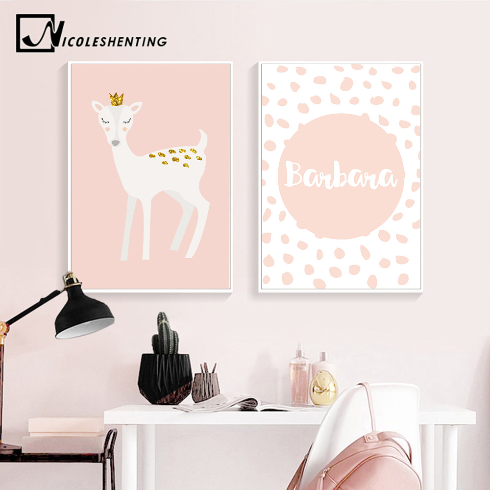 Us 2 91 48 Off Custom Name Poster Baby Nursery Wall Art Canvas Painting Cartoon Deer Print Nordic Kids Decoration Picture Bedroom Decor In