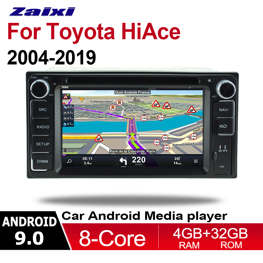 ZaiXi <font><b>2din</b></font> Android 9.0 Octa Core 4GB RAM Car DVD For Toyota Hiace 2004~2019 <font><b>GPS</b></font> Radio BT Navi MAP Multimedia player system HD image