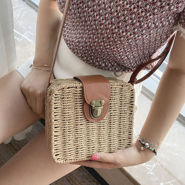 Woven Straw Square Cross-body Bag