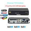 V8 Ouro DVB-T2/S2/C HD por satélite Receptor Decoder + 1 ano Europa cccam apoio CCCAM Cline Powervu remendo Youtube set top box