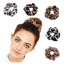 1pc Good Quality Leopard Scrunchies Women Girls Elastic Hair Rope Velvet Band Ponytail Holder Accessories