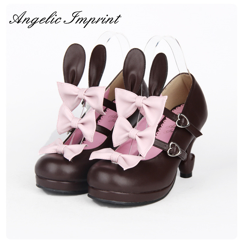 Lovely Pink and Lavender Cross Strap Cute Wings Lolita Girl Low Heel Shoes 8493 05 lovely pink