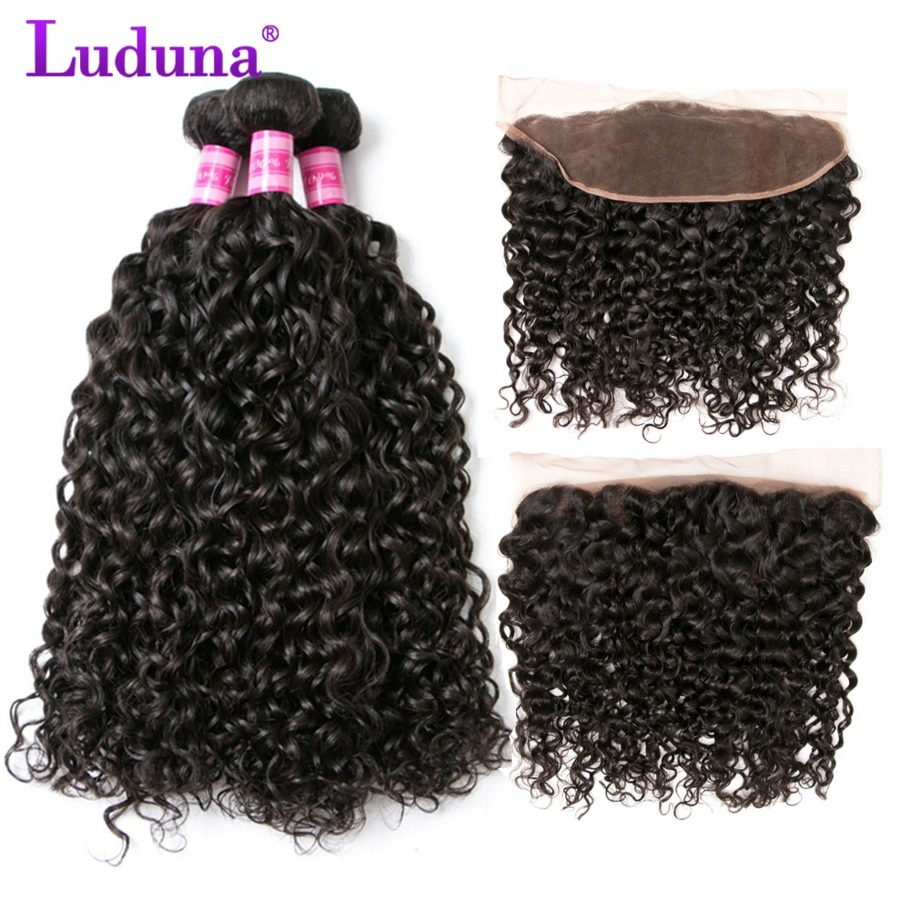 Luduna Water Wave Bundles With Frontal Brazilian Hair Weave Bundles With Closure Human Hair 3 bundles With Frontal Closure Remy
