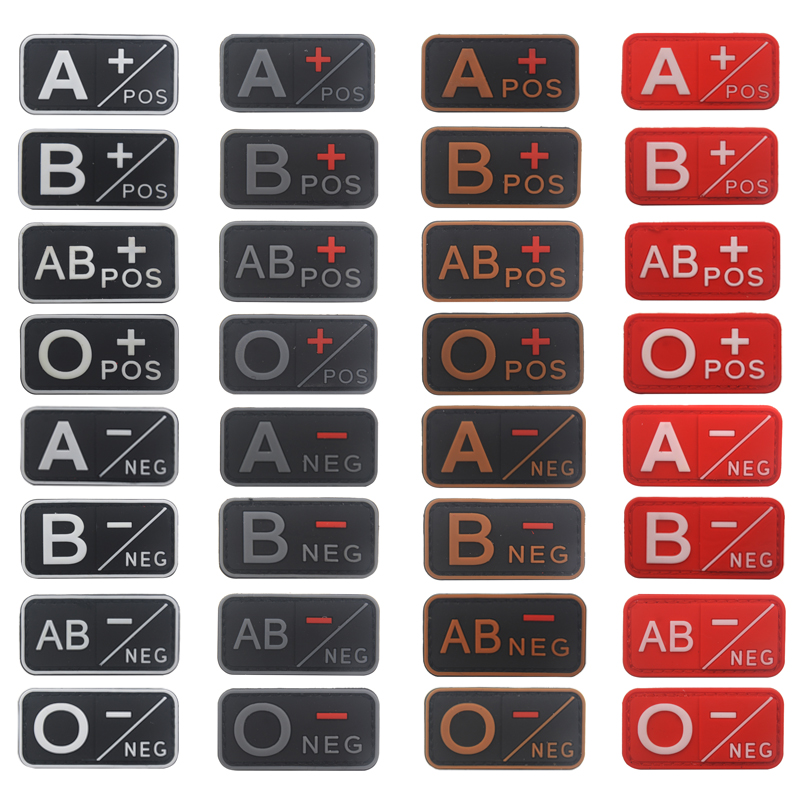 PVC Army Military Tactical Blood Type GROUP Patch A B AB O Positive POS NEG