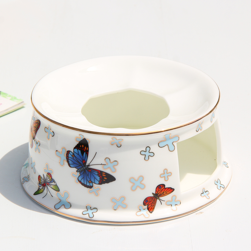 Butterfly Gold Inlay European Afternoon Black Tea Ceramic Bone China Porcelain Warm Tea Coffee Stove Furnace Heating Base