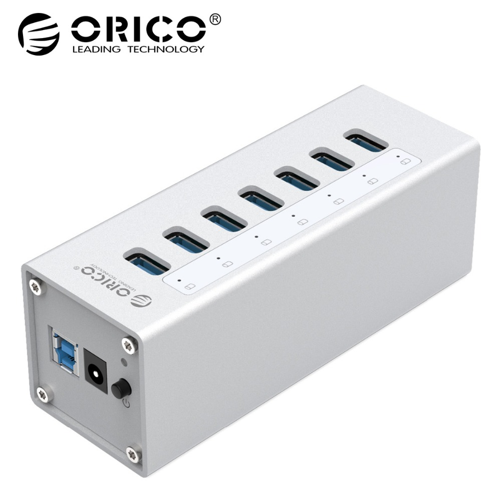 ORICO A3H7 New Design High Speed Aluminum 7 Port USB 3.0 HUB  For PC/Laptop - Silver