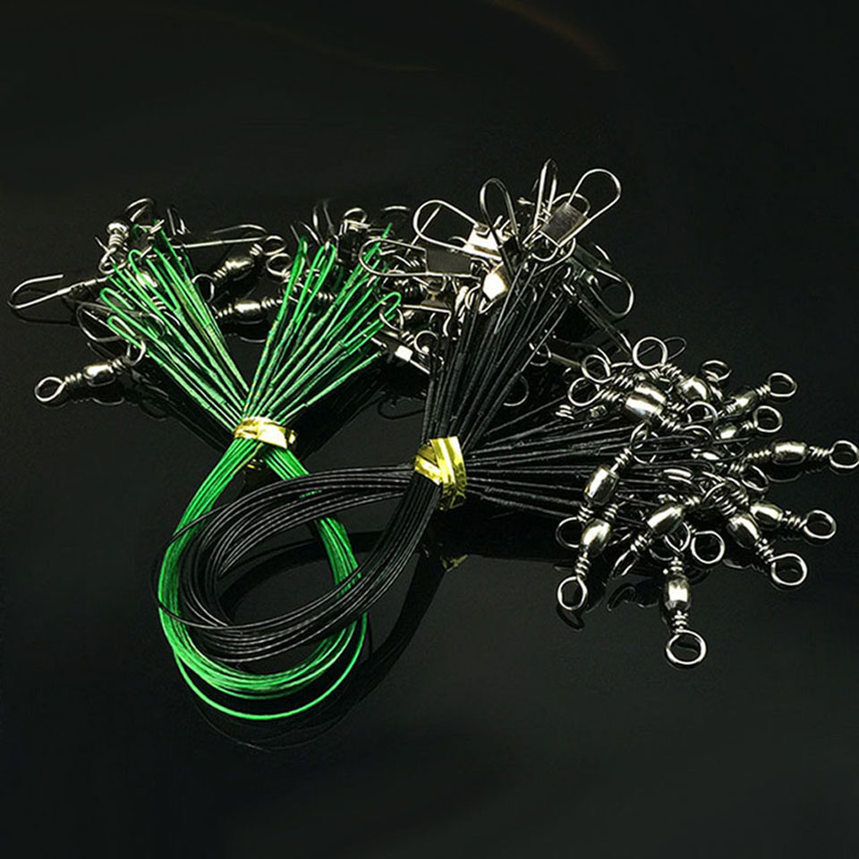 10Pcs Stainless Steel Wire Fishing Lure Trace Wire Leader Swivel Tackle Spinner Anti-bite Steel Fishing Line Sea Fishing Tackle