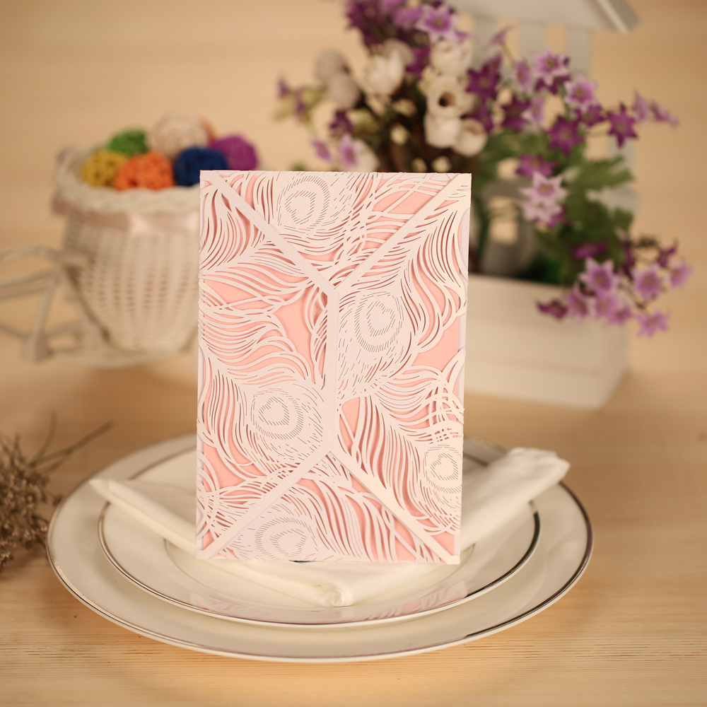 Pearlescent Paper Wedding 10pcs Romantic Invitation Cards + 10pcs Inner Sheets + 10pcs Envelopes Party Banquet Decoration