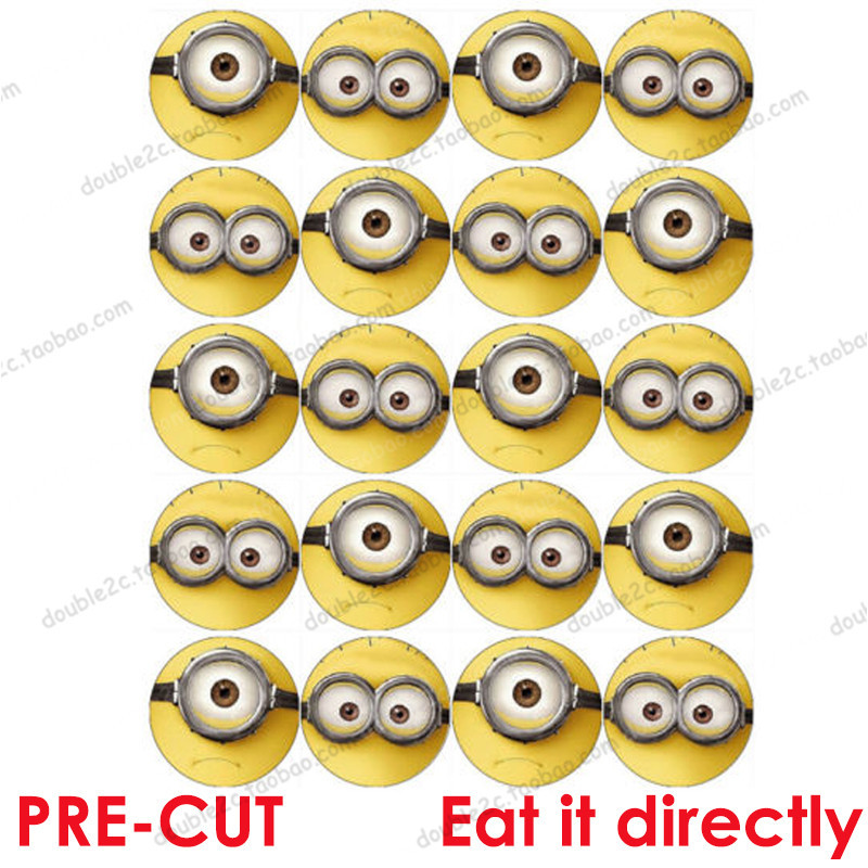 Remarkable 2 20Pcs Set Edible Wafer Paper For Cupcake Minion Cake Topper Personalised Birthday Cards Cominlily Jamesorg