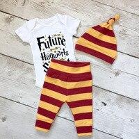 New 2017 Letter Printed Baby Boys Clothes Short Sleeve Jumpsuit Pants Hats 3Pcs Set Children Clothing