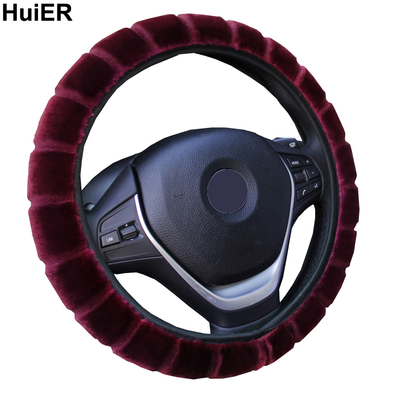 HuiER Warm Long Wool Plush Car Steering Wheel Cover Comfortable Anti-slip For 36-39CM Car Styling Steering-wheel Free Shipping huier auto car steering wheel cover high steering cover 5 colors anti slip for 38cm 15 steering wheel car styling free shipping