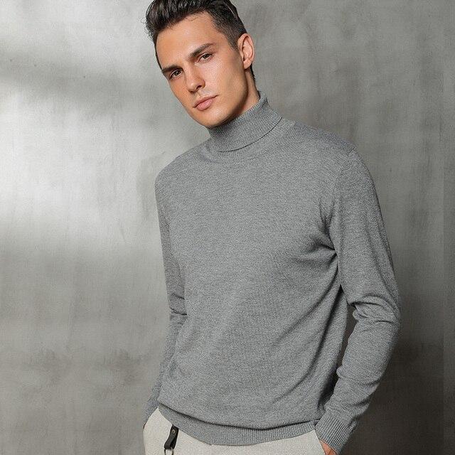 Homens de Lã Cashmere Malha Camisola de gola alta Pullovers Homens Marca Cor Sólida Masculino Estilo Vintage Outono Inverno Roupas Básicas