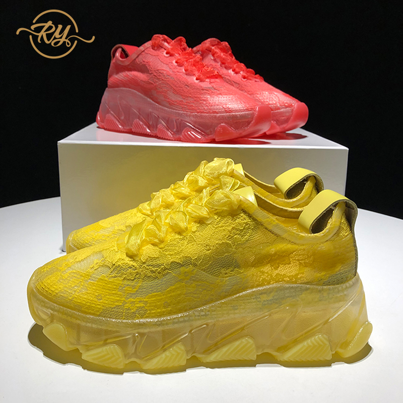 RY-RELAA femmes baskets 2018 mode chaussures de luxe femmes designers chaussures d'été nouvelles baskets blanches femmes ins style plate-forme chaussures