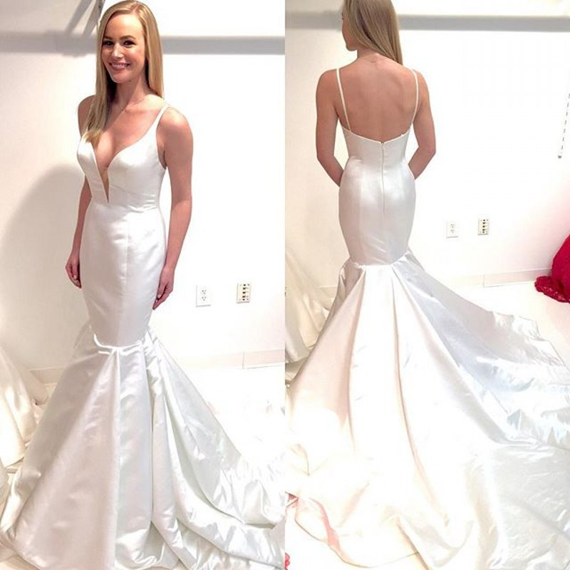 Aliexpress.com : Buy White Mermaid Prom Dress Spaghetti Straps ...