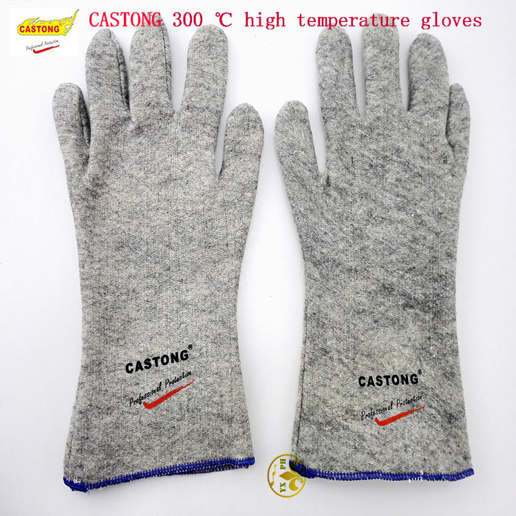 CASTONG high temperature resistant gloves GKKK35-33 fireproof gloves 300 safety degree of gray glove high quality hand tool gloves 12 pairs 700g cotton gloves wear resistant work thick gloves against high low temperature gloves