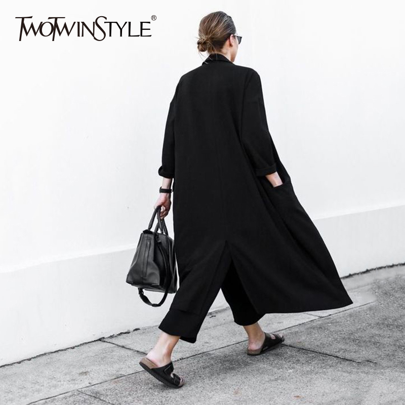 TWOTWINSTYLE Oversize Windbreaker For Women Lapel Collar Pocket Split Long Dovetail Trench Coat Cardigan 2019 Spring Thin New