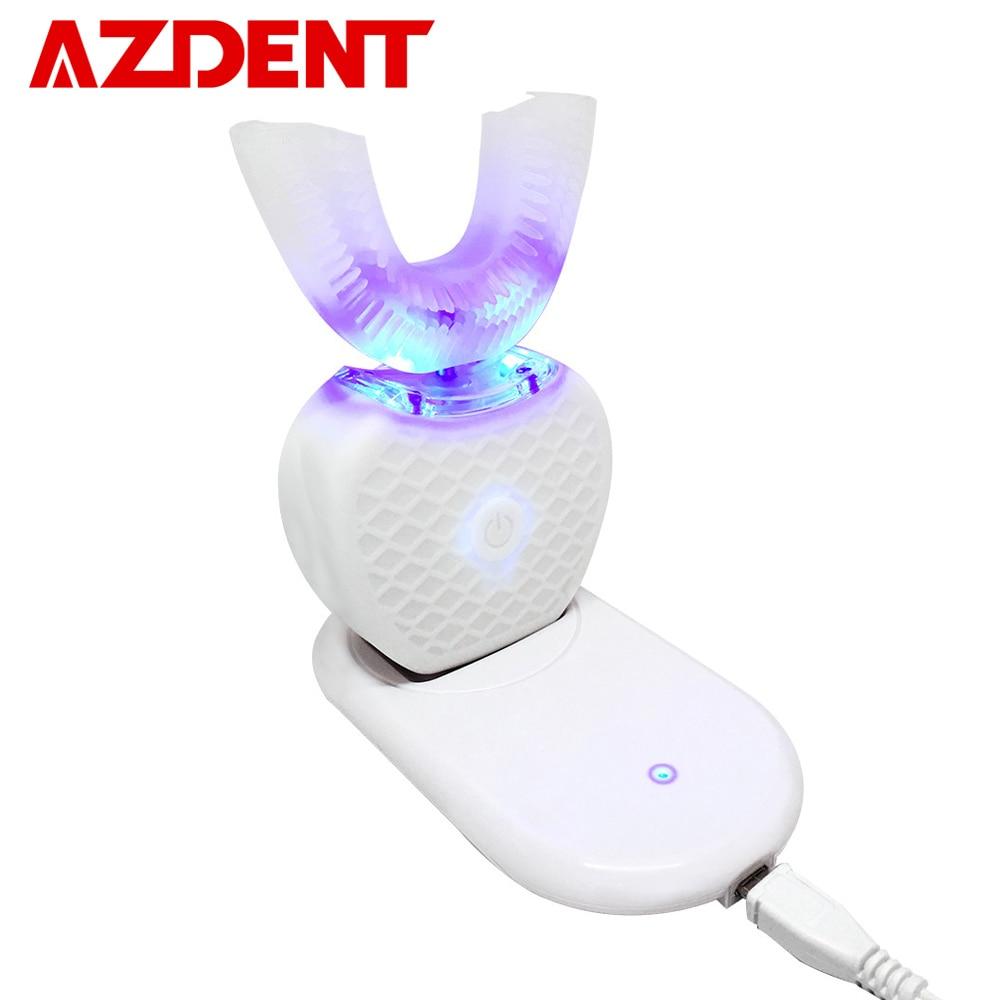 360 graus inteligente automático sonic escova de dentes elétrica u tipo 4 modos escova de dentes carregamento usb clareamento do dente luz azul