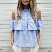 New Arrival 2016 Summer Style Women Off Shoulder Casual Blouse Shirts Blue&WHITE Ruffles Short Blusas Ladies Crop Tops