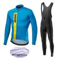Mavic Cycling Jerseys Cycling Set Winter Thermal Fleece Long Sleeves Racing MTB Suit Maillot Bike Clothing