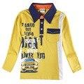 Bebê criança Menino Gola T-shirt do bolso Casual Tops T Dos Miúdos camisa 1 t-6 t nova crianças meninos roupa do bebê new design t-shirt tee