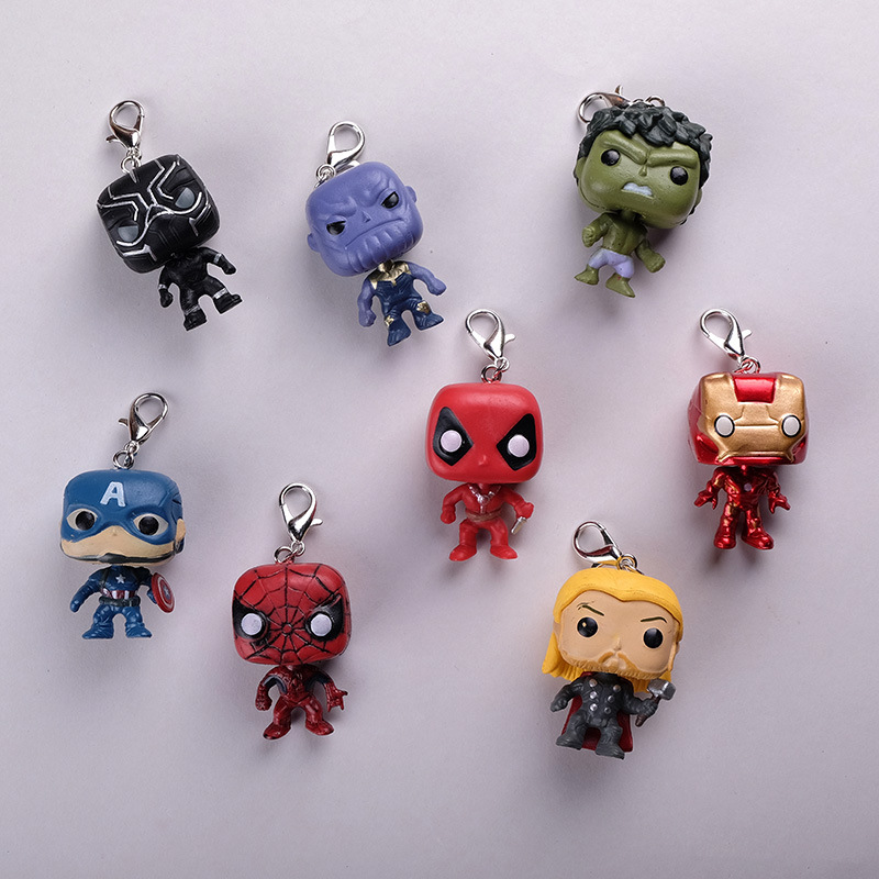 Keychain Marvel Jewelry Key-Ring Pop-Toys Iron Man Captain-America Wonder Women Kids