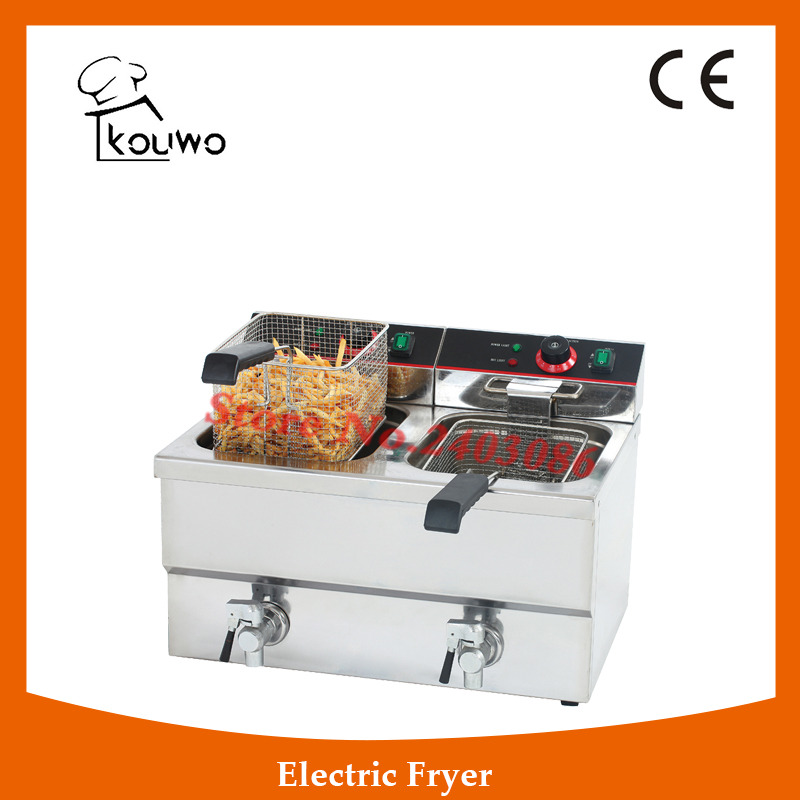 Stainless Steel table counter top food processing machine 12+12L electric double tank chicken potato chips deep Fryer with tap shipule fast food restaurant 30l commercial electric chicken deep fryer commercial potato chips deep fryer frying machine