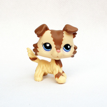 original old Animal toy action figure real rare pet shop lps toys collie #2210 little Cream Tan Brown dog with blue eyes