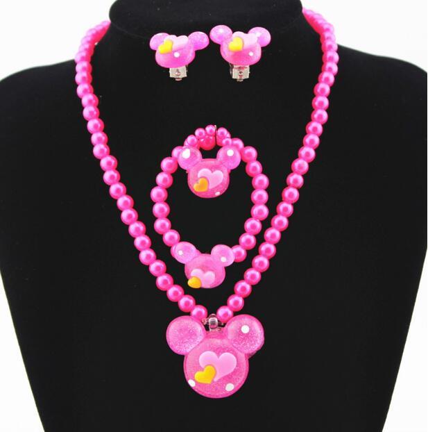 4 Pcs Kids Jewellery Set Pink Necklace Earrings Ring Bracelet