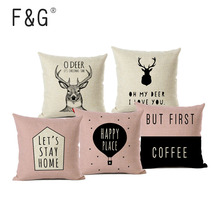 Nordic Style Decorative Sofa Pillows Cover Deer Animal Black White Cushion Home Decor Linen Cushions Covers for