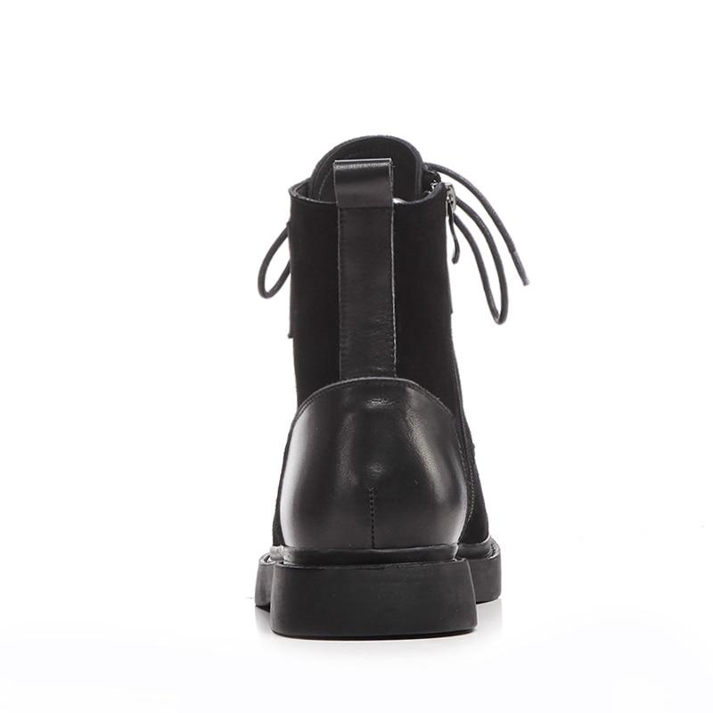 De Negro black Tobillo Zapatos Tacones Mujeres Plataforma Boot Wetkiss 2018 Otoño Punta Botas Calzado Invierno Ascensor Suede Ejército Cuadrados Redonda Vaca zvHHWnSqR