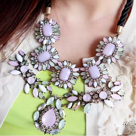 X260 Fashion brand Crystal Flower Chain Choker resin necklaces & pendants Exaggerate luxury Chunky Statement Jewelry For Women