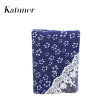 Katuner New Floral 16 Bits Lace Canvas Credit Card Holder Business Bank Card Pocket ID Holder Women Cardholder Wallet KB074(China)