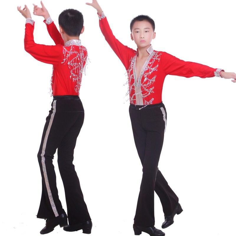 2ce8f336 US $69.85 |Czerwony chłopiec tańca Latin Dance koszula klasyczna Latin  tańca towarzyskiego ubrania diamentowe chłopcy taniec Wear koszulka + ...