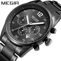 MEGIR Official Chronograph Watches Luminous Calendar Sport Military Quartz Full Steel Watch relogio masculino relojes Waterproof
