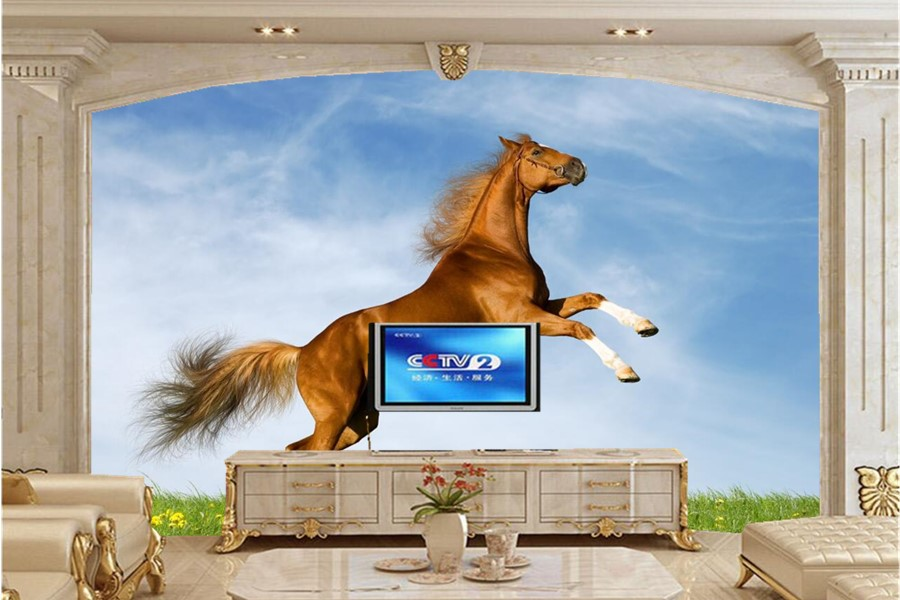 3d custom wallpaper,Jumping brown horse on the grass mural,dining room sofa TV wall bedroom photo 3d wallpaper papel de parede the jumping cats 2017 08 31t20 30