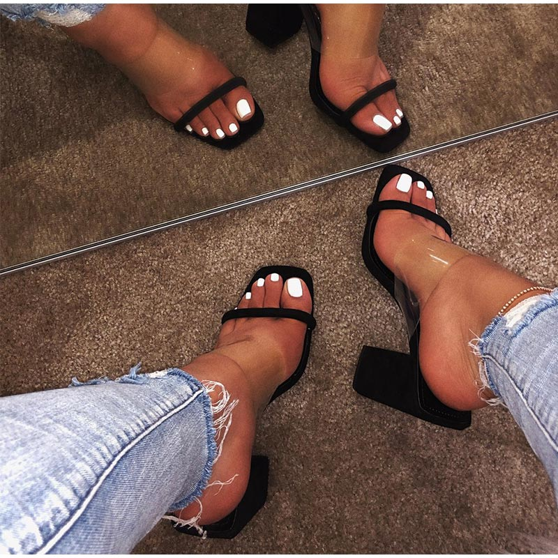 HTB187JfevWG3KVjSZPcq6zkbXXaG MCCKLE Women Transparent Sandals Ladies High Heel Slippers Candy Color Open Toes Thick Heel Fashion Female Slides Summer Shoes